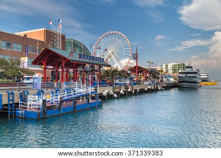 Chicago, IL/USA - circa July 2015: Navy Pier in Chicago, Illinois - stock photo