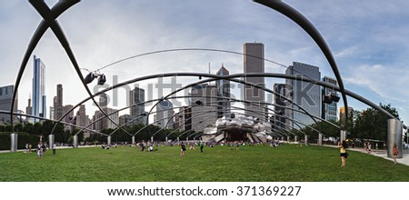 Chicago, IL/USA - circa July 2015: People at Jay Pritzker Pavilion at Millennium Park in Chicago, Illinois - stock photo