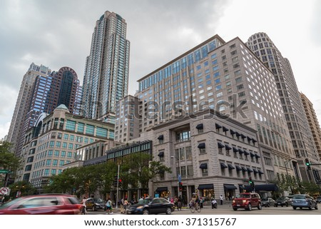 Chicago, IL/USA - circa July 2015: Streets of Downtown Chicago, Illinois - stock photo