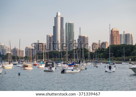 Chicago, IL/USA - circa July 2015: Yachts in Chicago, Illinois - stock photo