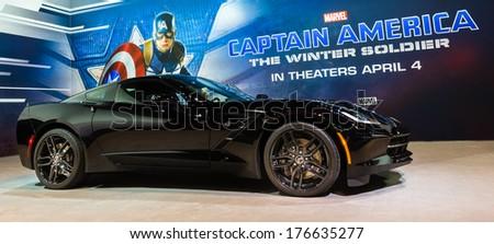 "CHICAGO, IL/USA - FEBRUARY 6: 2015 Black Widow Corvette driven by Scarlett Johansson in ""Captain America: The Winter Soldier"", at the Chicago Auto Show (CAS) on February 6, 2014, in Chicago, Illinois. - stock photo"