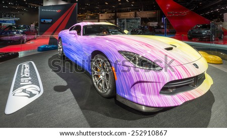 CHICAGO, IL/USA - FEBRUARY 12, 2015: 2015 customized Dodge Viper GTC car at the Chicago Auto Show (CAS), the largest auto show in North America. - stock photo
