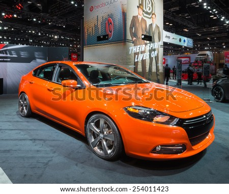CHICAGO, IL/USA - FEBRUARY 13, 2015: 2015 Dodge Dart GT car at the Chicago Auto Show (CAS), the largest auto show in North America. - stock photo