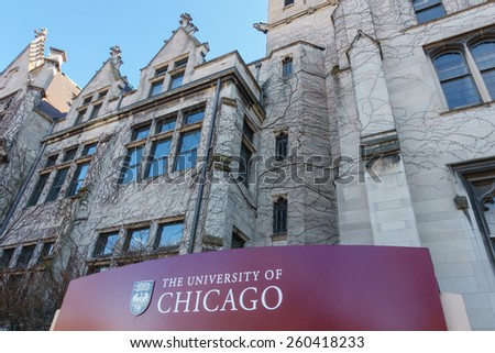 CHICAGO, IL, USA - MARCH 12, 2015: Sign for the University of Chicago in the Hyde Park area of Chicago, IL, USA on March 12, 2015. - stock photo