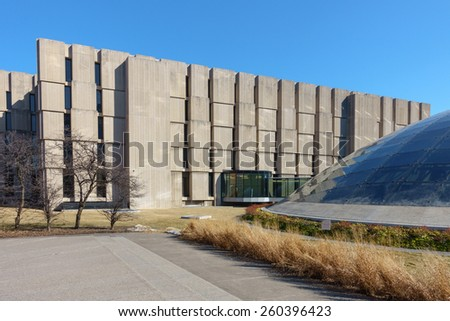 CHICAGO, IL, USA - MARCH 12, 2015: The Regenstein and Mansueto libraries at the University of Chicago in Chicago, IL, USA on March 12, 2015. - stock photo