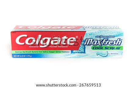 Chicago, Illinois April 8, 2015 : Clean and Nice Image of Colgate MaxFresh toothpaste - stock photo