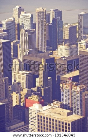 Chicago Illinois City Center in Ultraviolet Color Grading. Vertical Chicago Aerial Photography. - stock photo