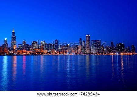 Chicago, Illinois cityscape overlooking Lake Michigan at sunset.  HDR from five exposures. - stock photo