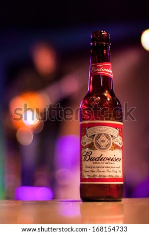 CHICAGO, ILLINOIS - DECEMBER 20, 2013: Budweiser is served in 12 oz bottles in Buddy Guy's Legends blues club in Chicago on Wabash Avenue - stock photo