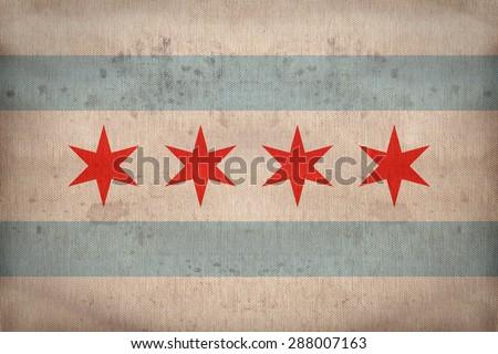 Chicago ,Illinois flag on fabric texture,retro vintage style - stock photo