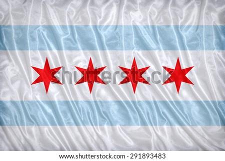 Chicago ,Illinois flag pattern on the fabric texture ,vintage style - stock photo