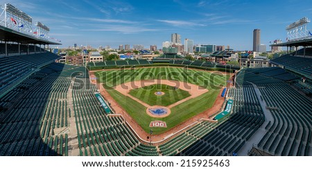 CHICAGO, ILLINOIS - SEPTEMBER 8: An empty Wrigley Field on September 8, 2014 in Chicago, Illinois - stock photo
