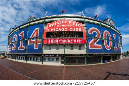 CHICAGO, ILLINOIS - SEPTEMBER 8: Exterior of Wrigley Field at the corner of Clark and Addison Streets on September 8, 2014 in Chicago, Illinois - stock photo