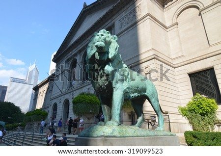 CHICAGO, ILLINOIS - September 7, 2015: The Art Institute of Chicago has one of the world's most notable collections of Impressionist and Post-Impressionist art, Chicago, Illinois, USA. - stock photo