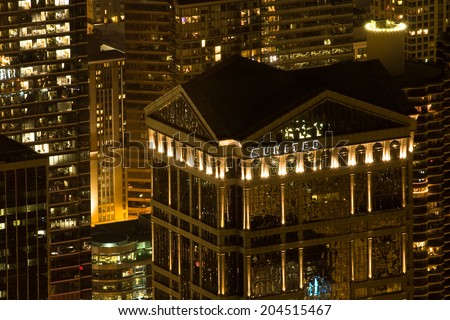 CHICAGO, ILLINOIS/UNITED STATES - AUGUST 25, 2012: Bird view from Willis (former Sears) Tower at night, overlooking downtown photographed on August 25, 2012 in Chicago, Illinois. - stock photo