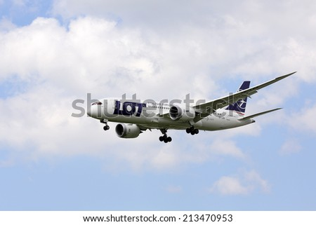 Chicago, Illinois, USA - July 10, 2013: LOT Polish Airlines Boeing 787-8 Dreamliner on final approach for landing at O'Hare International Airport in Chicago. - stock photo