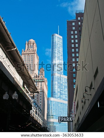 Chicago, Illinois: view of Wrigley building and Trump tower on September 22, 2014. Wrigley building was built to house the corporate headquarters of the Wrigley Company. Trump Tower is 1389 feet high - stock photo