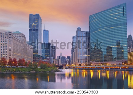 Chicago. Image of the city of Chicago during sunset. - stock photo