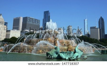 CHICAGO - JULY 19: Chicago's Clarence Buckingham Memorial Fountain, is shown here on July 19, 2013. The seahorses around it represent the four states that surround lake Michigan.  - stock photo