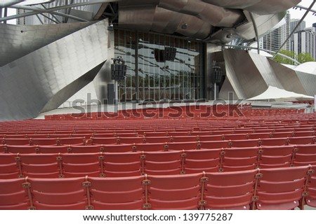 CHICAGO - JUNE 3: Jay Pritzker Pavilion on June 3, 2010 in Chicago, Illinois. A popular music venue in Millennium Park, the pavilion opened to the public on July 16, 2004. - stock photo