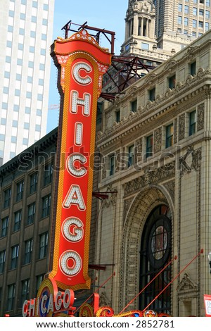 Chicago Landmark Sign in the downtown theater district in the loop - stock photo