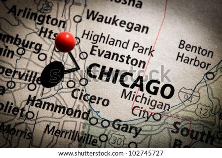 Chicago Map - stock photo