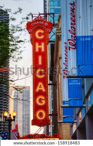 CHICAGO - MAY 20: Chicago Theather neon sign on May 20, 2013 in Chicago, IL. It'is a landmark theater located on North State Street in the Loop area of Chicago. - stock photo