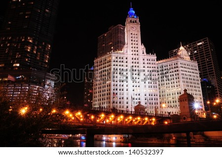 CHICAGO - MAY 19: The Wrigley Building on May 19, 2012 in Chicago,IL. The building has two towers, South Tower (built in 1921 with 30 stories) and a North Tower (built in 1924 with 21 stories) - stock photo