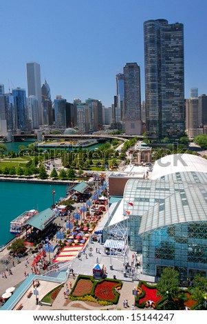 Chicago Navy Pier Aerial View in the Summer - stock photo