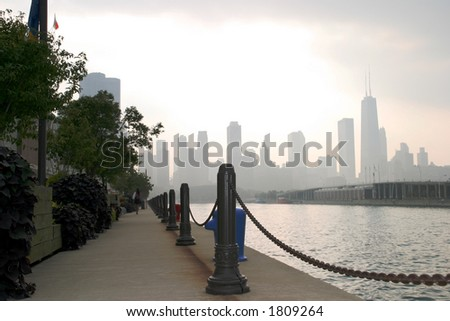 Chicago - Navy Pier View - Downtown on a stormy day - stock photo