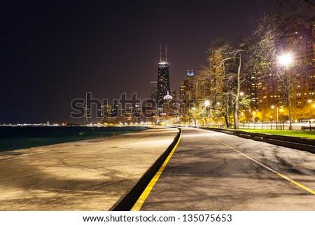 Chicago North Beach At Night - stock photo