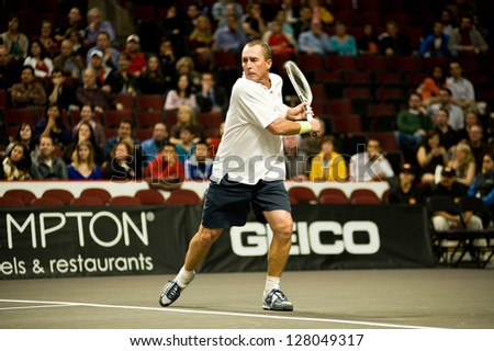 CHICAGO - OCTOBER 17: Ivan Lendl on October 17, 2012 competing in the 2012 Powershares QQQ Challenge at the United Center in Chicago. - stock photo