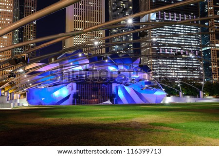 CHICAGO - OCTOBER 04: Jay Pritzker Pavilion an outdoor amphitheater on October 04, 2011 in Millennium Park, Chicago, Illinois. Designed by Frank O. Gehry - stock photo