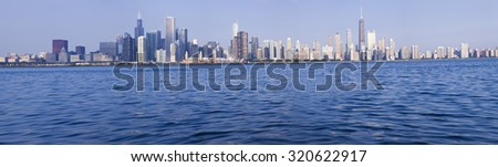 Chicago panorama seen from Lake Michigan, Chicago, Illinois, USA. - stock photo