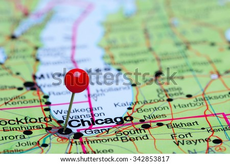 Chicago pinned on a map of USA  - stock photo