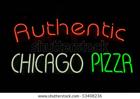 Chicago Pizza Neon Red White Green Sign - stock photo