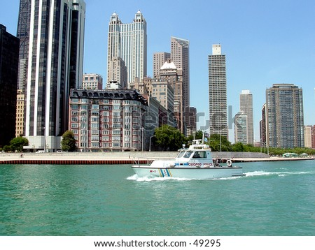 chicago police boat - stock photo