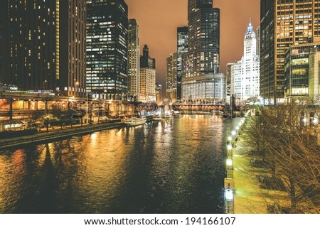 Chicago River at Night. Downtown Chicago Night Cityscape. - stock photo