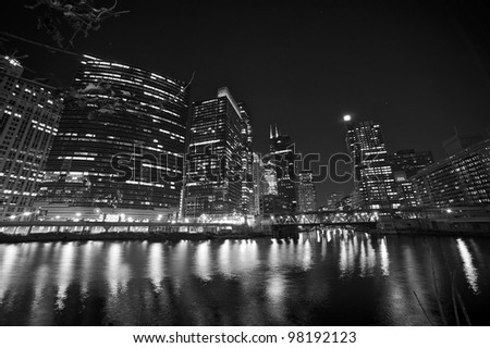 Chicago Riverwalk Black and White Photography. Chicago Downtown 2012 - stock photo