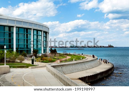Chicago's Shedd Aquarium on Lake Michigan - stock photo