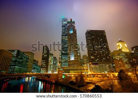 Chicago's urban skyscrapers at night, IL, USA - stock photo