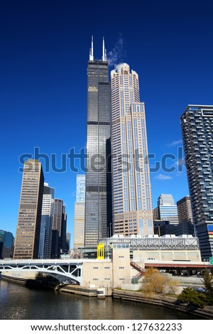 Chicago's urban skyscrapers in financial district, IL, USA - stock photo