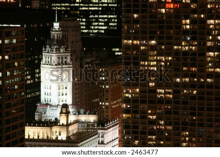Chicago's Wrigley Building at Night - stock photo