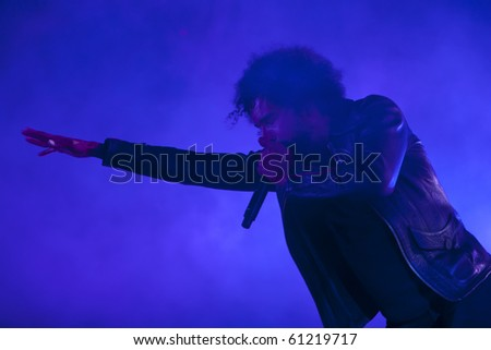 CHICAGO - SEP. 16: William DuVall of Alice in Chains takes the stage on the opening night of BlackDiamondSkye on September 16, 2010 in Chicago - stock photo