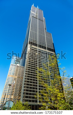 CHICAGO - SEPT 30: The Willis Tower on Septermber 30, 2013 in Chicago, Illinois. Built as the Sears Tower, its 110 stories standing 1,450 feet high made it the world's tallest from 1973 to 1998. - stock photo
