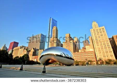 CHICAGO - September 3: Cloud Gate in Millennium Park on September 3, 2015 in Chicago. The Cloud Gate is a major tourist attraction and a gate to traditional Chicago Jazz Fest (September 3 - 6 2015). - stock photo