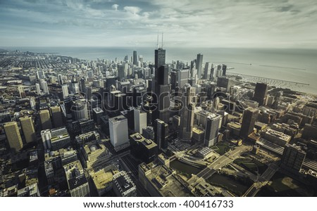 Chicago Skyline aerial view with downtown skyscrapers, vintage colors - stock photo