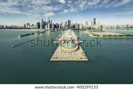 Chicago Skyline aerial view with Navy Pier, vintage colors - stock photo