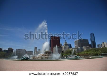 Chicago Skyline and Buckingham Fountain - stock photo