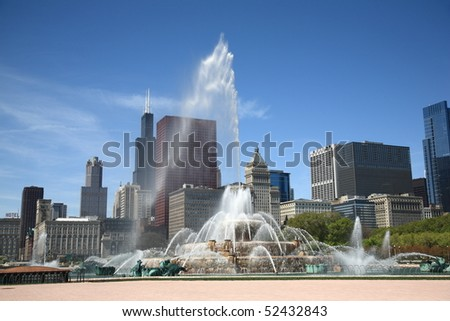 Chicago Skyline and Fountain - stock photo